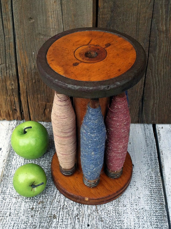 Nice Old Industrial Wooden Spool - with Other Smaller Spools/Spindles - Beautiful Colors