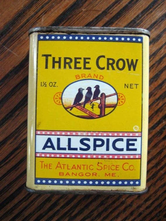 Antique Three Crow Brand Allspice Tin Atlantic Spice Company Bangor Maine 1& 1/2 Oz.