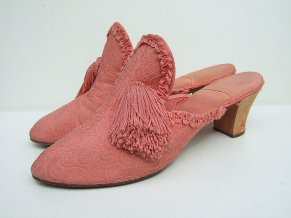 Vintage 1930's candy pink quilted boudoir slippers with cuban heels mules UK 6.5 EU 39.5 US 8