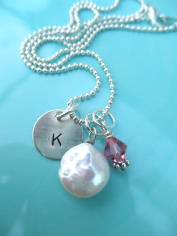 Hand Stamped Initial and Pearl Necklace