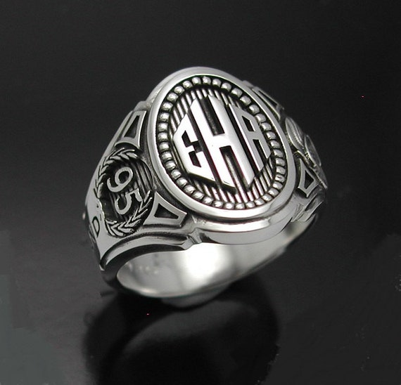 monogram cigar band mens ring in sterling silver style 015