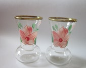 Vintage Pair Hand Painted Vase Clear Glass Flowers Art Collectible Floral 4.50 inchVases Peach Blossom glass painted gold trim