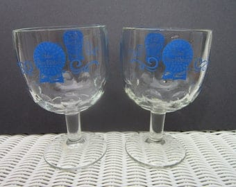 Vintage Pabst Blue Ribbon Beer Thumbprint Goblet Glass set of 2