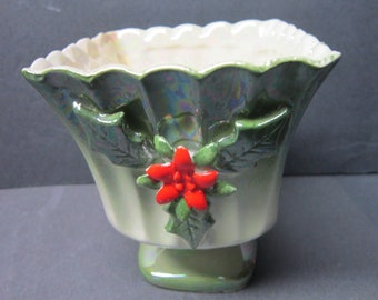 Vintage 1950s Norcrest Handpainted Holiday China Planter  Lefton