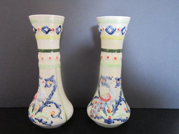 Vintage Ceramic Vases Peacock Motif 2 matching vases