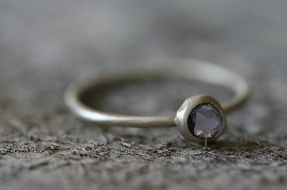 Freeform Lilac Sapphire & Sterling Ring, Delicate, Organic and Wearable, Size 7.25