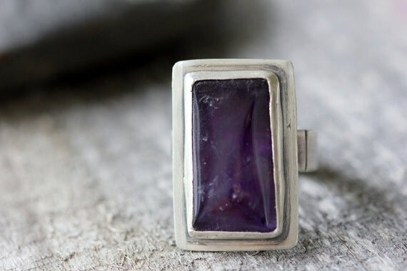 Grooved Amethyst & Sterling Cocktail Ring, Statement Making, Unique Gift, Size 6.5