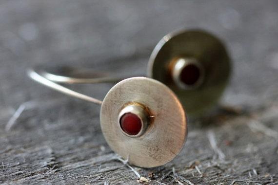 Coral & Sterling Drop Earrings, Minimalist, Modern, OOAK