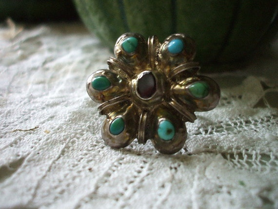 Beautiful ETHNIC TURQUOISE & AMETHYST Silver Ring