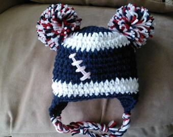 Pom Pom Football Hat- Newborn to Adult- Choose Team Colors