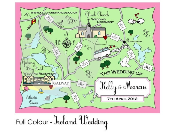 Custom Map - Cute Wedding Map, We're Moving or Party Invitation