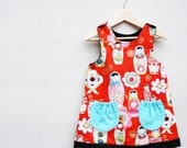 Girls Red Russian Doll Christmas Dress with gold print