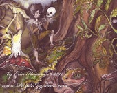 Fairy Art, Reproduction, Print, of Fairy Man reciting poetry in the forest