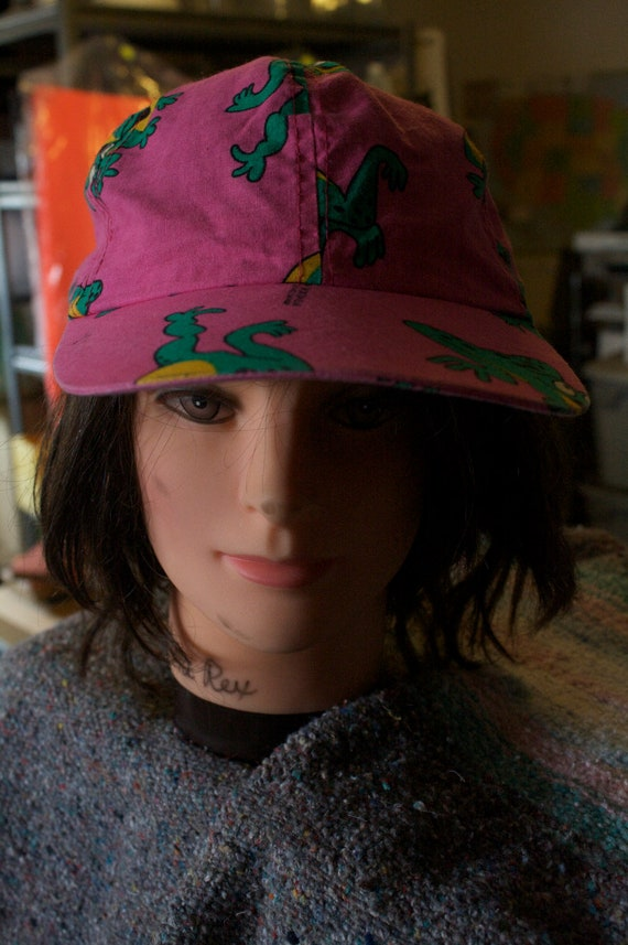 80s hat pink & frogs