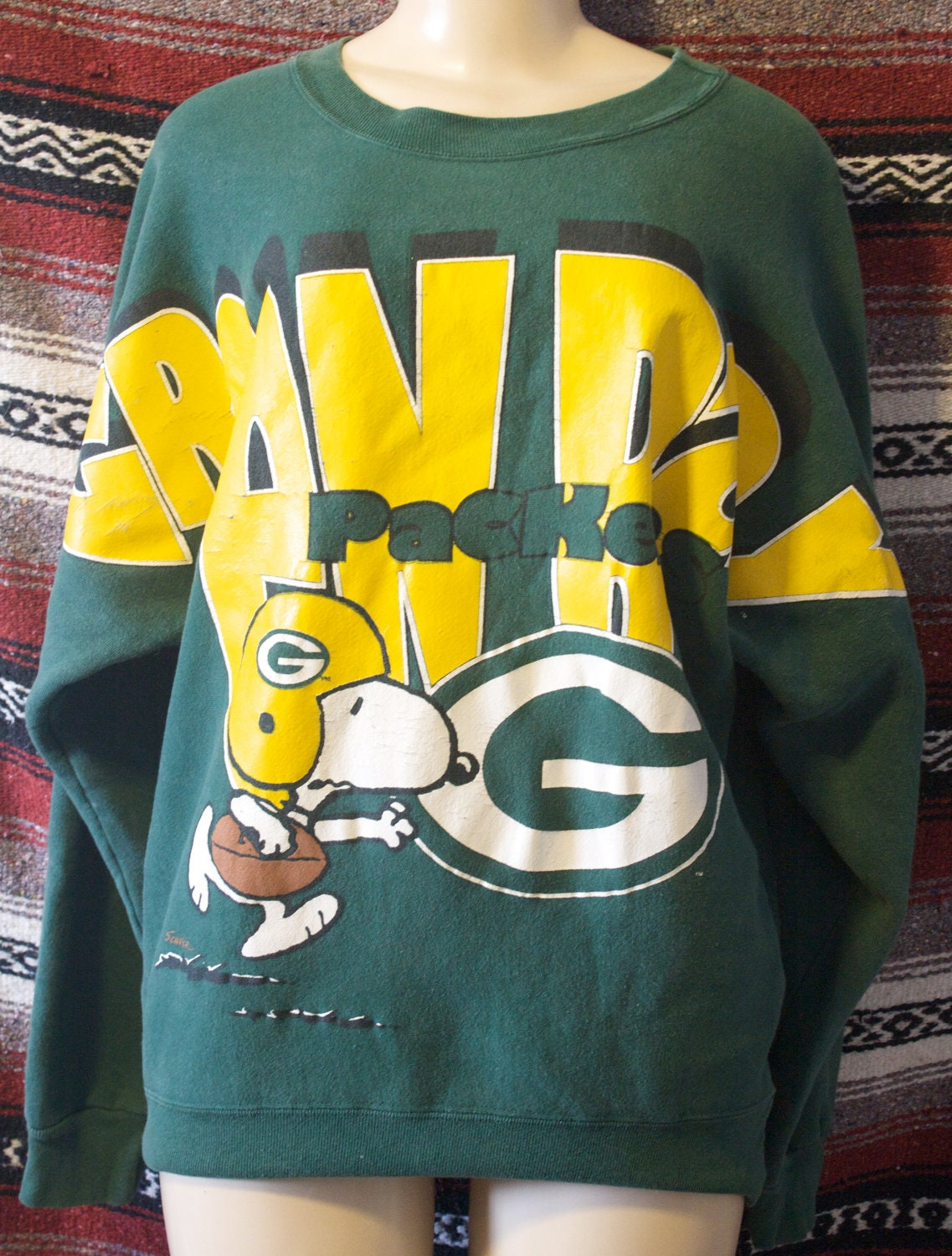 Green Bay Packers Snoopy Sweater Vintage Size M