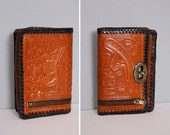 Tooled Leather Mexico Horse Wallet Whiskey 1970s Vintage