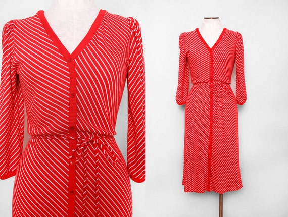 Red Dress with French Style White Stripes and Tie Belt 1970s Vintage Size Medium