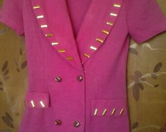 Hot pink short sleeved 1980s jacket