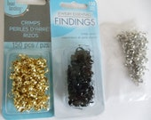 Crimp covers w ring Base metal gold silver black 3 packs