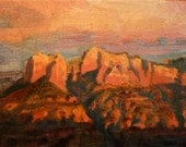 Impressionist Landscape Painting of Sedona Red Rock Mesas at Sunset