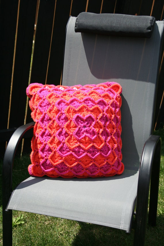 Crochet Decorative Pilllow Cover Catherine's Wheel in Pink and Orange