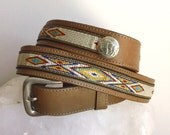 Woven Southwestern Belt  //  Embroidered Light Brown Tan Leather Belt  //  Silver Buckle and Embroidery