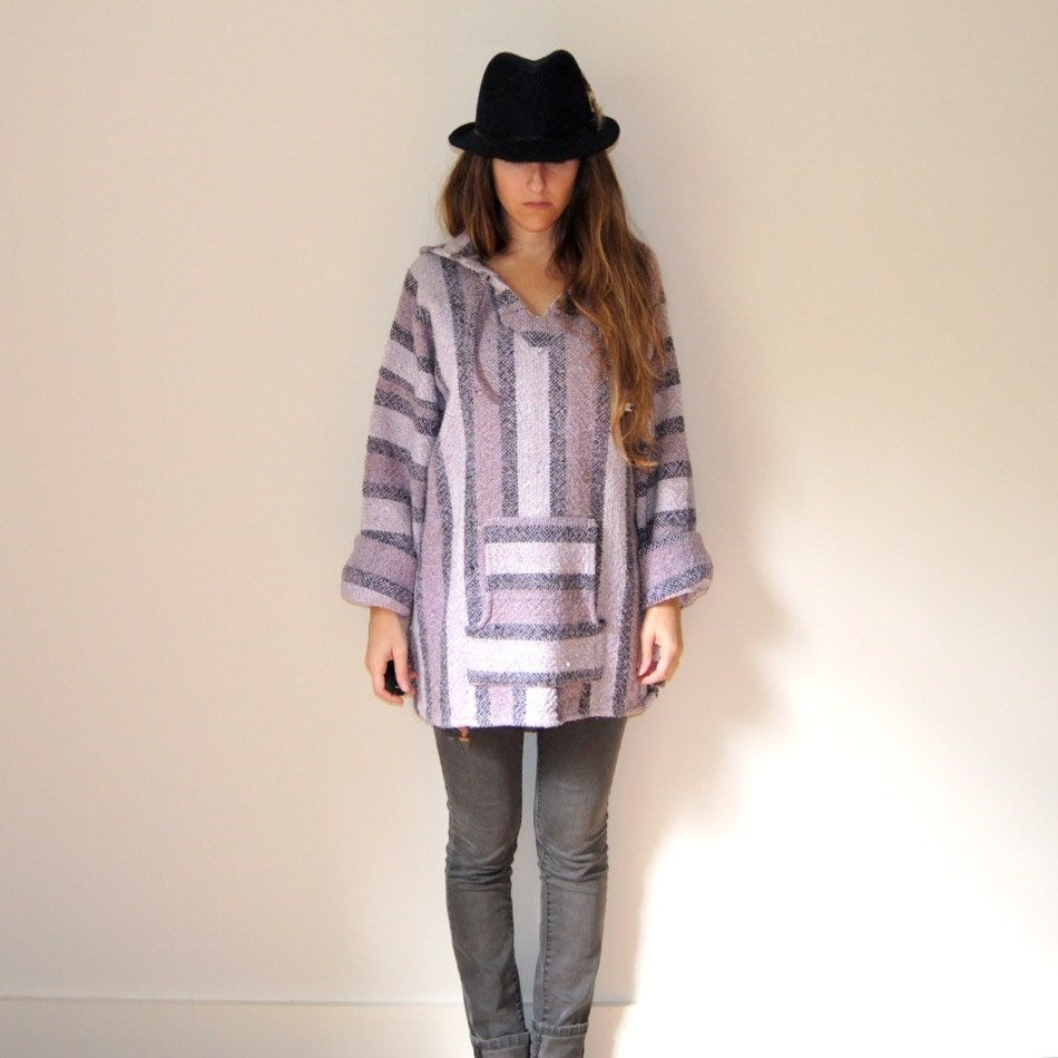Woven Baja Hoodie // Surfer Poncho // Pastel By JACKNBOOTS