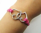 Pink Rope Steampunk Bracelet Heart to Heart adjustable Vintage silver UnisexBow and Heart to Heart Bracelett 1184S
