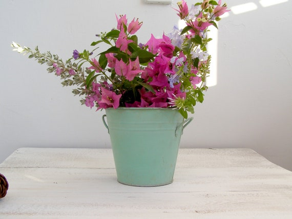 Shabby chic Green Metal Bucket, vintage rustic small bucket, garden party, table decor