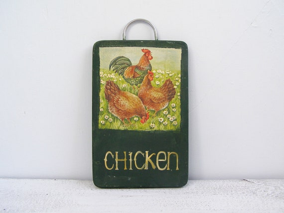 Chickens in my Kitchen, Rustic Kitchen Wall art,  Farmhouse, Chickens, Up cycled cutting board, green, brown, red, reclaimed wood, Folk Art