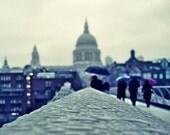London Photo, London in the rain and umbrella - 8x10 fine art photograph, blue and grey