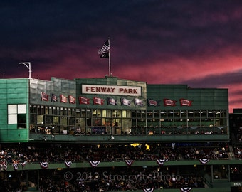 8x12 fine art photography, Fenway Park, Press Box at sunset, Boston Red Sox, baseball, man cave decor, StrongylosPhoto