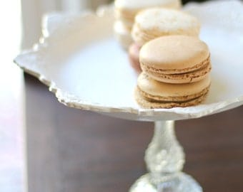 "White Cake Stand / 13"" Wedding Cake Stand Pedestal / Cupcake Stand / Macaron Stand Macaron Pedestal / Parisian French Macarons Tray Platter"