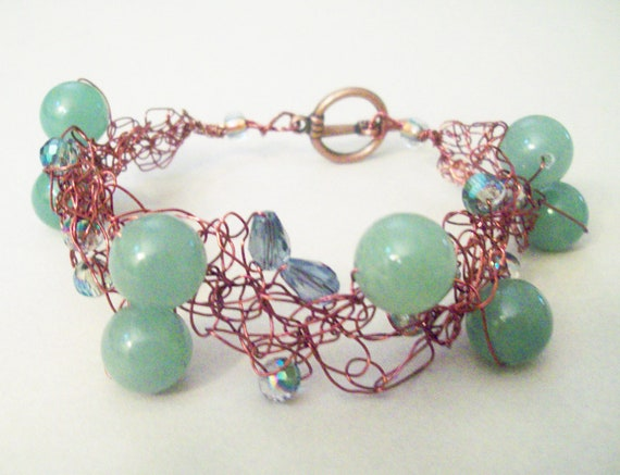 Crochet Wire and Jade Glass Bead Bracelet