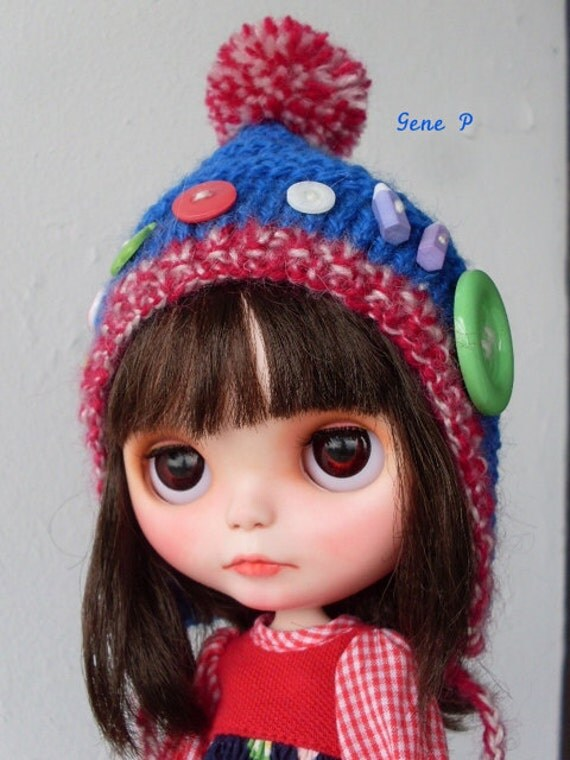 Blythe helmet hat Tummeliten model CAP blue and blythe handknitted retro buttons pencil