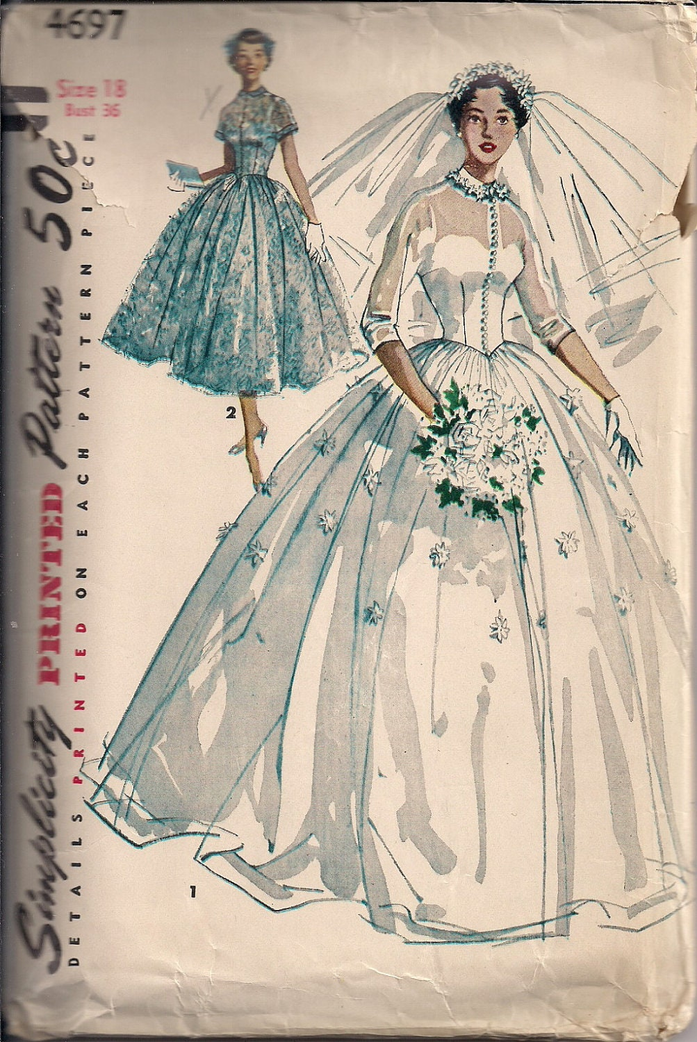 Vintage bridal gown sewing pattern s4697 size 18 for Wedding dress patterns vintage