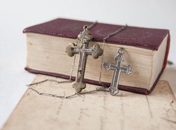 Vintage Crosses, pendant, silver tone chain, mini crosses, Soviet Era