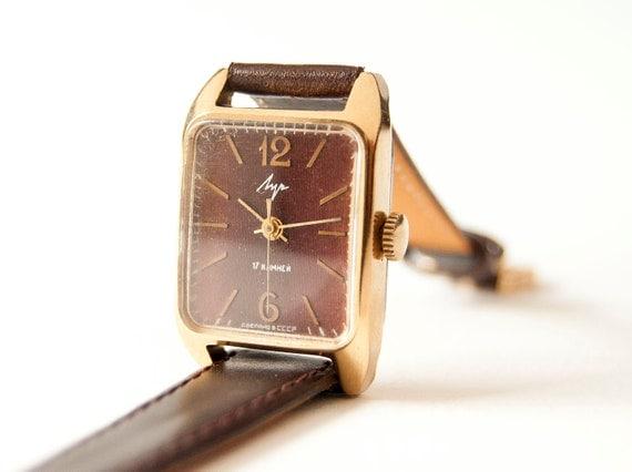 Soviet women's wrist watch - gold plated watch - leather watch - dark brown watch