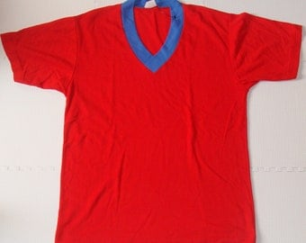 Vintage 80s Retro Howard Joseph Red V Neck T Shirt
