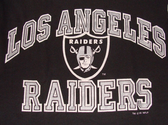 Vintage 90s NFL Los Angeles LA Raiders Logo 7 Football Black Jersey T Shirt