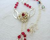 GORGEOUS, Sterling Silver Rose, Swarovski Ruby Necklace
