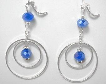 Sterling Silver & Periwinkle, Dangle Hoop Earrings