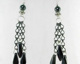 Long Black Hematite Dangle Earrings, Handmade Sterling Silver Earwires, 2 3/4 inches