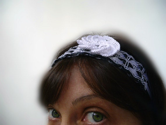 Tatting flower - Handmade headband of buttons - for her - cute gift - party cocktail