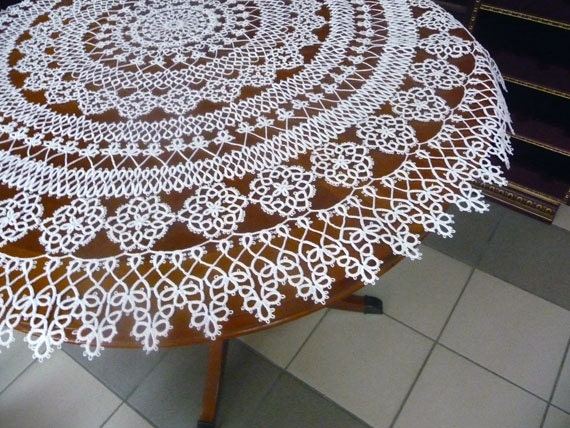 Handmade Tatting Tablecloth White Roses Home By