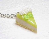 Slice Of  Lime Cheesecake Pendant.  Polymer clay