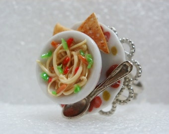 Bowl Of Noodles Ring. Polymer Clay.