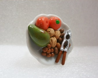 Fruit and Nuts Ring. Polymer Clay.