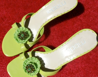 Glam Apple Green Patent Leather & Rhinestone Sandals 8 and 1/2