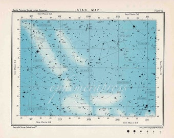 star map 62 celestial astronomy vintage celestial chart print